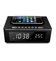 Radio Despertador Altavoz Bluetooth con Cargador Qi y Temperatura